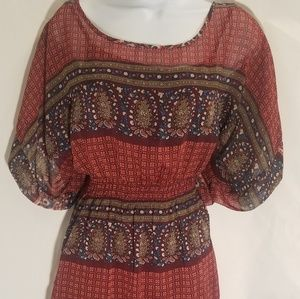 Rue 21 burgundy dress with great print L